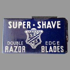 Vintage Super-Shave Razor Blade Box with Derby Blue Steel Blades