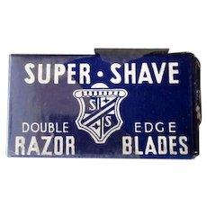 Vintage Super-Shave Razor Blade Box with Derby Blue Steel Blades