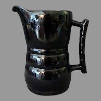 Vintage Frankoma Pottery – One Quart 26D Pitcher in High Gloss Black Glaze