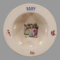 Small Vintage Baby Bowl Feeding Dish with Children and Toys - Czechoslovakia