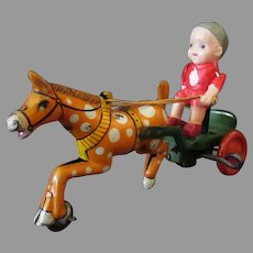 Vintage Celluloid and Tin Wind Up Toy, Made in Japan, Boy & Horse Cart