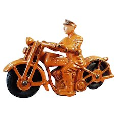 "Vintage Cast Iron Patrol Motorcycle Toy - All Original - Large 6 1/2"" Size"
