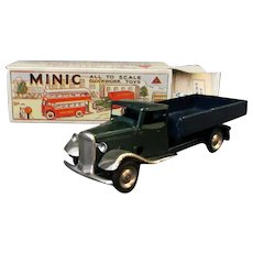 Vintage Tri-Ang Minic Wind-up Toy - Delivery Lorry Wind Up Truck with Box