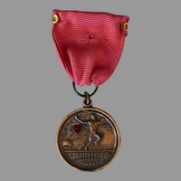 Vintage Josten Sports Medal - Peoria, Illinois Track & Field Award with Enameled Heart