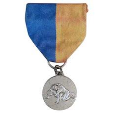 Vintage Sports Wrestling Medal with Original Ribbon - Never Inscribed