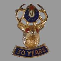 Vintage 30 Year Member BPOE Elk Lapel Stud - Gold on Sterling Silver