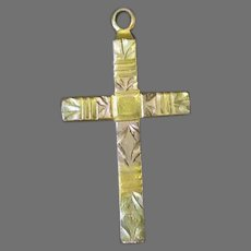 Vintage Gold-Filled Cross Pendant with Pretty Etched Design