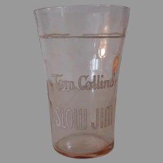 Vintage Sloe Gin Advertising Soda Glass - Slow Jim Tom Collins
