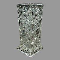 Vintage Illinois Pattern Strawholder - Pressed Glass Soda Fountain Straw Holder