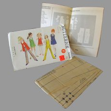 Vintage Mod Fashions for Young Girl, Size 6 – Butterick #5688 Pattern Size 6