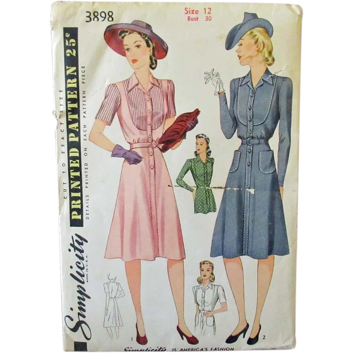 Vintage Sewing Pattern 1940s Simplicity 4498 House Coat or Dress 32 Bust Free Pattern Grading E-book Included
