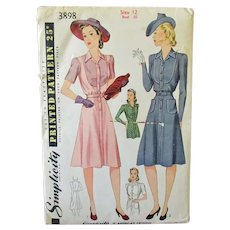 Vintage 1940's Misses' Fashion Women's Shirtmaker Dress -Simplicity #3898 Pattern Size 12