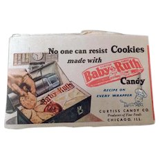 Vintage Baby Ruth Lipstick Tissues - Candy Bar Cookie Recipe & Kleenex Advertising