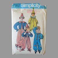 Vintage 1975 Halloween Clown Costume Pattern – Size 6-8  Simplicity #7162