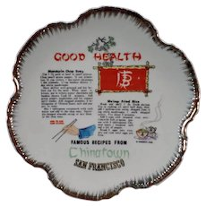 Vintage San Francisco Chinatown Souvenir Plate with Chinese Recipes