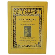 Vintage Broussard New Orleans Fine Dining Restaurant Menu