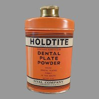 Vintage Advertising Tin - Holdtite Denture/Dental Plate Powder Tin