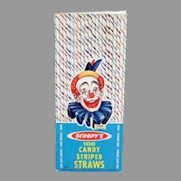 Vintage 1963 Candy Striped Paper Straws with Scoopy Clown on Box