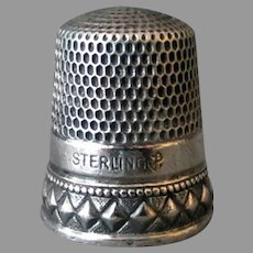 Vintage Sterling Silver Sewing Thimble – Nice Diamond Design - Goldsmith Stern Size 11