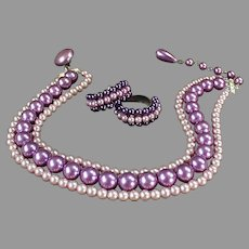 Vintage Costume Jewelry - Triple Strand Bead Choker and Earring Suite in Purples