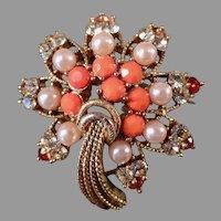 Vintage Costume Jewelry Brooch - Starburst Rhinestones, Faux Coral & Pearls Pin