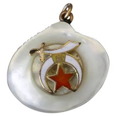 Vintage Watch Fob or Pendant - Carved Mother of Pearl Shell with Shriner's Emblem