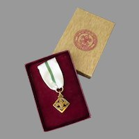 Vintage 1956-1965 Boy Scout Den Mother's/Leader's Training Award Medal with Presentation Box