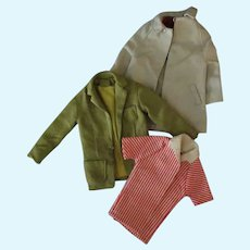 Vintage Mattel Ken Doll Clothes –Beach Jacket, Sport Jacket and Over Coat with Labels