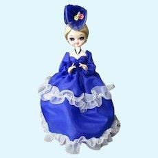 Vintage Big Eyed Fashion Doll in Royal Blue Dress and Fancy Hat – Korea