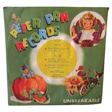 Child's Vintage Peter Pan Record – Frere Jacques, Pumpkin Eater, Farmer in the Dell