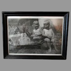 Framed Vintage Photograph with Children and Early Pedal Car