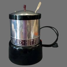 Vintage Soda Fountain Hot Fudge Sundae Electric Warmer Dispenser with Nestle's Ladle