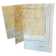 Vintage 1943 Map - Elko Nevada Sectional Aeronautical Chart Map