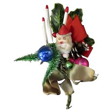 Vintage Christmas Package Decoration Ornament with Santa Claus, Candles, Holly and More