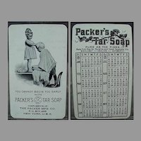 Vintage 1917 Celluloid Calendar - Packer's Tar Soap Advertising with Little Children