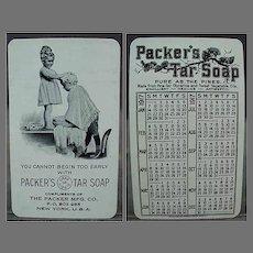Vintage 1917 Celluloid Calendar - Packer's Tar Soap Advertising with Little Children