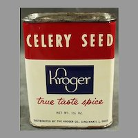 Vintage Kroger Celery Seed Spice Tin with Grapefruit French Dressing Recipe