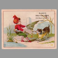 Fun Vintage Victorian Advertising Trade Card - Blake's Great Piano Palace