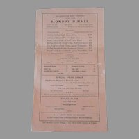 Vintage 1958 Yellowstone Park Menu  - Monday Dinner Menu