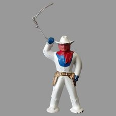 Vintage Barclay Slush Cast Pod Foot #952 Toy Cowboy with Lasso - Original Condition