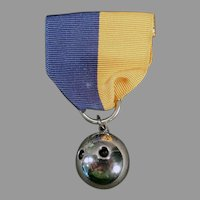Vintage 1945 Sterling Silver Medal - Two Finger Bowling Ball Sports Medal