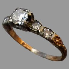 Vintage Ladies 14k Yellow and White Gold Ring with Diamonds – Size 3 1/2
