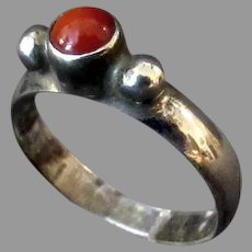 Vintage Native American Sterling and Coral Ring – Size 7+