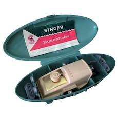 Vintage 1960's Complete Singer Buttonhole Attachment - Model 489500 or 489510 - Green Case