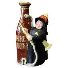 Vintage Schafer & Vater Figural Flask - S&V Nip - Fireman with Fire Water