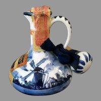Vintage Blue Delft Jug with Windmill Scene - Miniature Liqueur Bottle