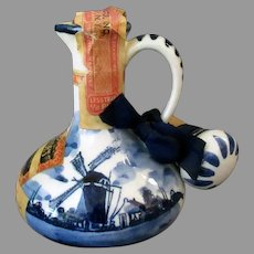 Vintage Blue Delft Jug with Windmill Scene - Miniature Liqueur Bottle