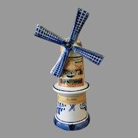 Vintage Blue Delft Miniature Windmill Liqueur Bottle