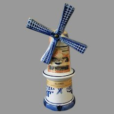 Vintage Blue Delft Miniature Windmill Liqueur Bottle