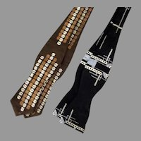 Two Vintage Patterned Bow Ties – U-Set Adjustable Size 13-18 Self Tie